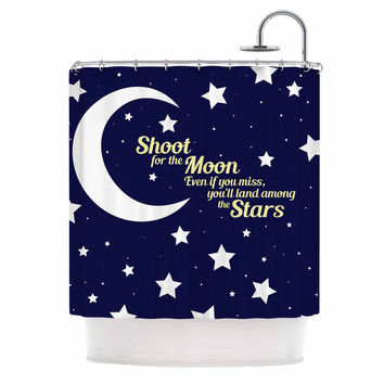 "NL Designs ""Moon And Stars Quote"" Blue White Shower Curtain"