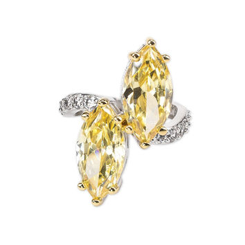 Canary Yellow Marquise Ring Size 6