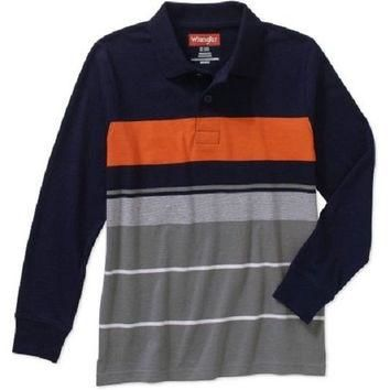Wrangler boys' Long Sleeve Engineer Strip Polo Shirt, Navy, XS 4-5