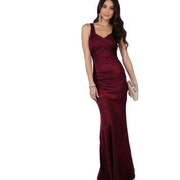 Lorena Burgundy Glitter Prom Dress