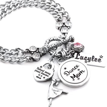 Personalized Dance Mom Charm Bracelet