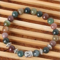 2016 New Natural Stone beads Bangle Sliver Buddha Plate Bracelets,India Agate,Energy Healing Stone,Yoga bracelet,Unisex LIF (Size: 8 mm) [8069649991]