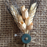 Handmade Wedding Boutonnieres - Blackbeard Wheat Boutonnieres, Florentine Pods Boutonnieres, Button Country Rustic