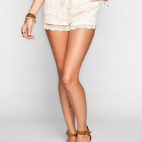 Full Tilt Crochet Overlay Womens Shorts Cream  In Sizes
