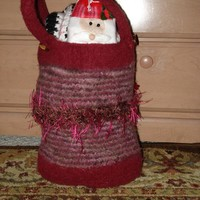 Ready to ship / One Of A Kind  Huge Fabulous Felt Tote / Knitted Wool Felted Bag from Funky Girls Working Shop
