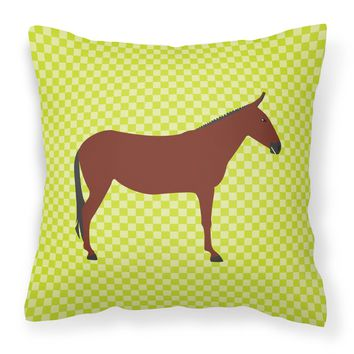 Hinny Horse Donkey Green Fabric Decorative Pillow BB7676PW1818