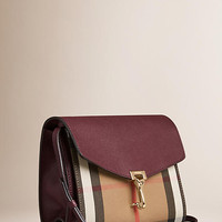 Small Leather and House Check Crossbody Bag