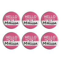 Melissa Hello My Name Is Plastic Resin Button Set of 6
