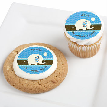 Boy Elephant - Personalized Birthday Party Edible Cupcake Toppers - 12 ct
