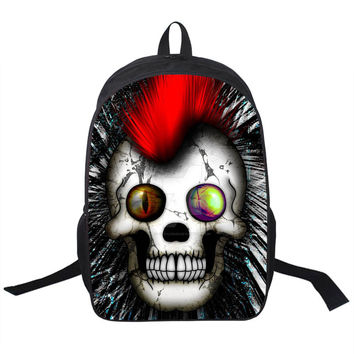 Steampunk Skull Printing Backpack Young Men Women Daily Backpack Boys Girls School Backpacks Cute Rottweiler Puppy Backpacks Bag