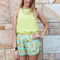 ISLAND BLOOMS SHORTS , DRESSES, TOPS, BOTTOMS, JACKETS & JUMPERS, ACCESSORIES, SALE, PRE ORDER, NEW ARRIVALS, PLAYSUIT, COLOUR, GIFT VOUCHER,,SHORTS,Green,Yellow,Print Australia, Queensland, Brisbane