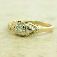 Antique Engagement Ring Art Deco Ring Retro Ring Vintage Diamond Ring 14k Gold Ring Mine Cut Diamond Estate Ring Promise Ring Size 7.25