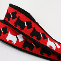 dSLR Camera Strap, Scottie Dog, Scottish Terrier, Red White Black, SLR, 73