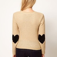Sweater with Heart Elbow Patches