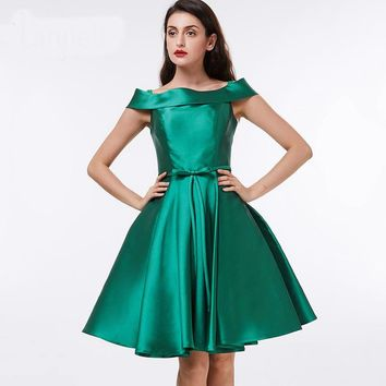 Off the shoulder cocktail dress dark green knee length a line gown satin draped ladies short cocktail dresses