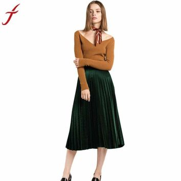 High Waist Tutu Party Ladies Summer Midi Skirt Fashion Pleated Velvet Seamless Stretch Party Cocktail Skirts #Lsn