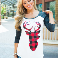 Checkered Reindeer Baseball Top