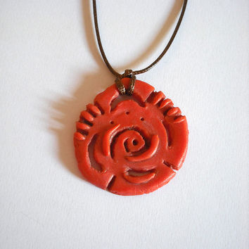Ethnic tribal necklace orange modeled by hand with cold porcelain