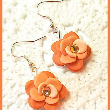 Flower Petal Earrings Polymer Clay Flower Blossoms Swarovski Crystals Dangle Earrings Handcrafted 3 shades of pumpkin orange
