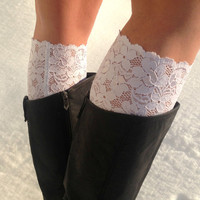 Lace boot cuffs - faux leg warmers - classic white - boot toppers - women boot cuffs - teen boot cuffs