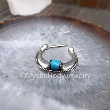 Septum Nose Ring 16g Piercing Turquoise Gem Stone Gemstone Hinged Helix Daith Clickers Clicker Piercings 316L Stainless Steel Body Jewelry