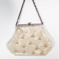 Vintage White Beaded Evening Bag with Pearls and Sequins, Silver and rhinestone clasp and chain