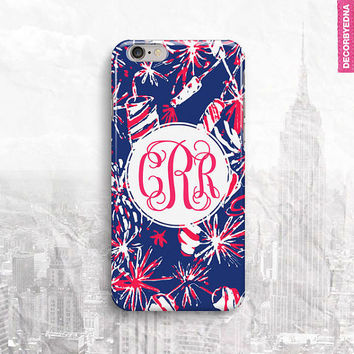 Lilly Pulitzer Cherry Bomb Navy Monogram iPhone 6 Case, iPhone 5 Cover, iPhone 4 Cover, iPad Mini Case
