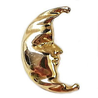 Crescent Moon Vintage Brooch Man Face Pin Shining Gold Tone Estate p268