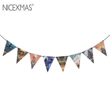NICEXMAS 3.2M DIY Happy Halloween Banners Garland Witch Ghost Pumpkin Skull Pennants Hanging Paper Chain Home Party Decor