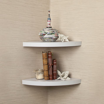 White Veneer Corner Radial Shelves(Set of 2) by Danya B