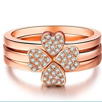 750 Rose Gold Clover Jewelry Rings Real Rose Gold SONA Synthetic Diamonds Rings Set Women Engagement 750 Rose Gold Jewelry Set