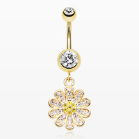 Golden Flower Sparkle Belly Button Ring