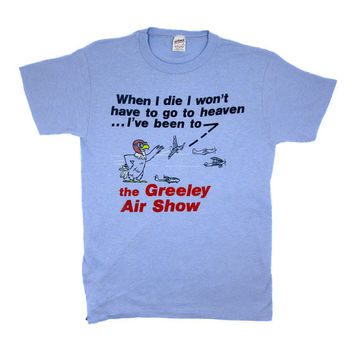 Small Sky Blue Vintage T Shirt / 80s Greeley Air Show Tshirt by Sportswear / Made in USA / 0036TS