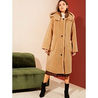 SHEINSingle Breasted Pocket Front Hooded Teddy Coat