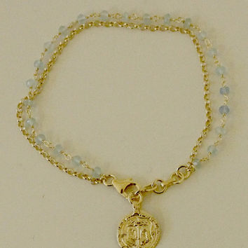 18kt Gold Vermeil / Sterling Silver Blue Chalcedony Indian Charm Bracelet