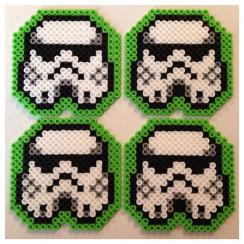 Stormtrooper Coasters Green Set of 4 by K8BitHero on Etsy