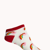 FOREVER 21 Over-the-Rainbow Ankle Socks Red/Multi One