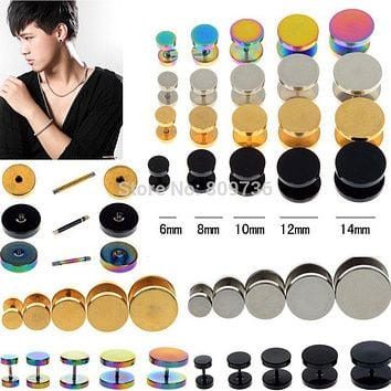 2Pcs Mens Barbell Punk Gothic 6-14mm Stainless Steel Ear Studs Fake Ear Plug Stretcher Cheater Earring Piercing Jewelry