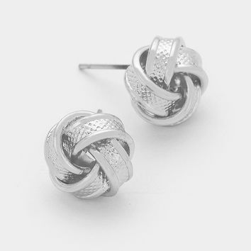 Silver Textured Knot Earrings