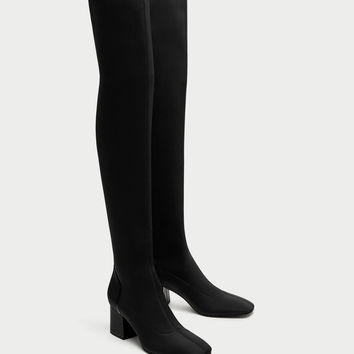 FABRIC OVER-THE-KNEE HIGH HEEL BOOTS DETAILS