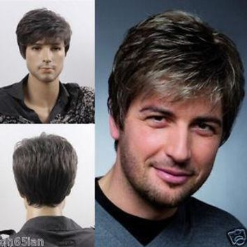 Men's Men Medium Long Youth light blonde Casual Modern Dark Brown BLACK Gary male cosplay peruca hair hair wig