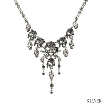 Fashion Classic Skull Necklaces Pendants Retro Rhinestone Necklace