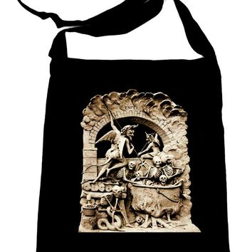 Diableries Devil Hell Scene Crossbody Sling Bag Skeletons in Cauldron