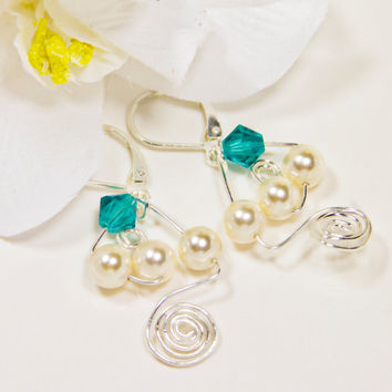 Turquoise Crystal Silver Earrings Pearl Earrings with a Crystal Unique Sterling Silver Pearl Dangles Cream Pearls and Crystals Gift for her
