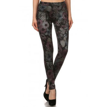 Floral Print Fleece Lined Jeggings - Assorted Colors