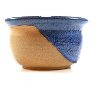 Heavy drip glaze pottery bowl, natural pottery, decorative ceramic bowl, blue pottery