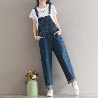 Summer plus size clothing vintage wash water suspenders jeans female spaghetti strap loose wide leg pants trousers