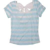 Lea Stripe Bow-Back Short-Sleeve