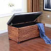 Storage Ottoman / Bench with Bulrush Body & Black Eco Leather Lid
