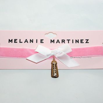 Licensed cool Melanie Martinez Baby Bottle Charm Pendant Pink Velvet Choker Necklace NEW